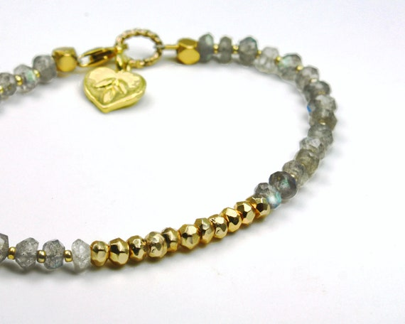 Pyrite and Labradorite Bracelet. Beaded Bracelet. Friendship Bracelet. Gold Vermeil  Charm.