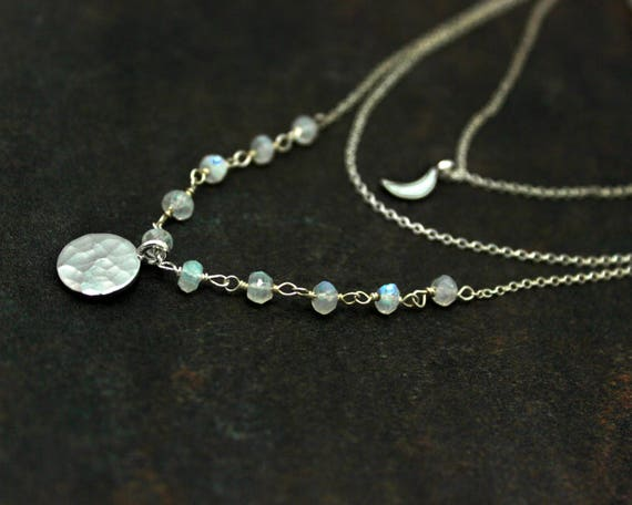Multi Chain Choker. Moon and Moonstone Necklace, Adjustable Silver Disc Necklace. Rosary Wire wrapped Gemstones. NCC2361-2