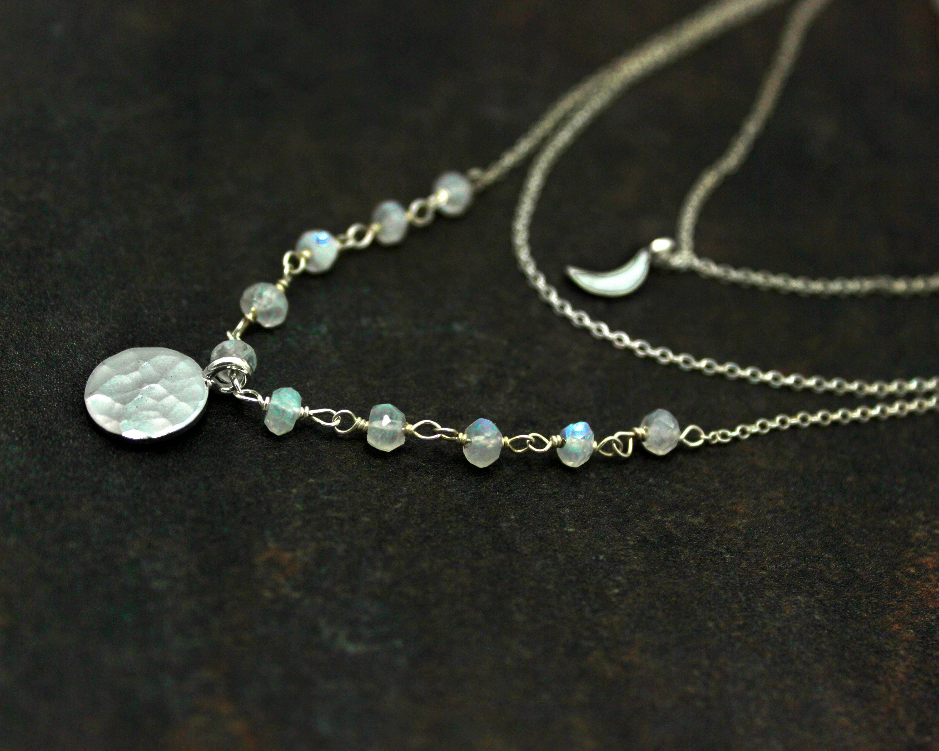 Multi Chain Choker. Moon and Moonstone Necklace, Adjustable Silver ...