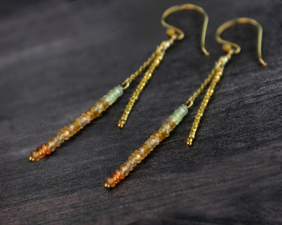 Golden Sapphire Stick & Chain Earrings, September Birthstone. In Gold, Silver,or Rose Gold.