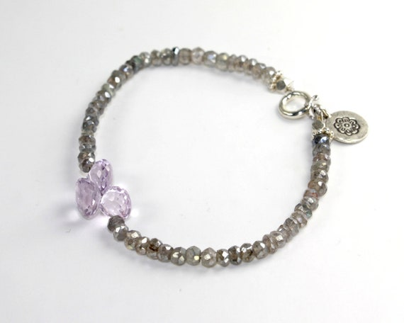 Gurlcha Stacking Bracelet. Friendship bracelet with Pink Amethyst and Labradorite. Shades of silver purple and grey.