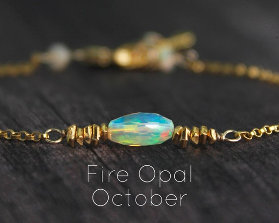 Fire Opal Bracelet. October Birthstone. Single Iridescent Opal, With Hill Tribe Vermeil. Also in Emerald or Ruby, Gold or Silver. B2801