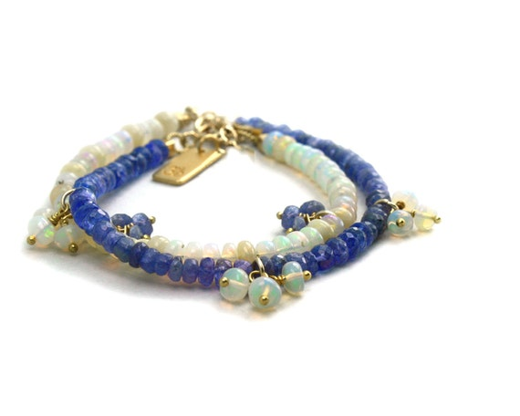 Ethiopian Welo Opal bracelet. Tanzanite and Opal Friendship Bracelets for Sisters/Friends/Lovers. B-1216.