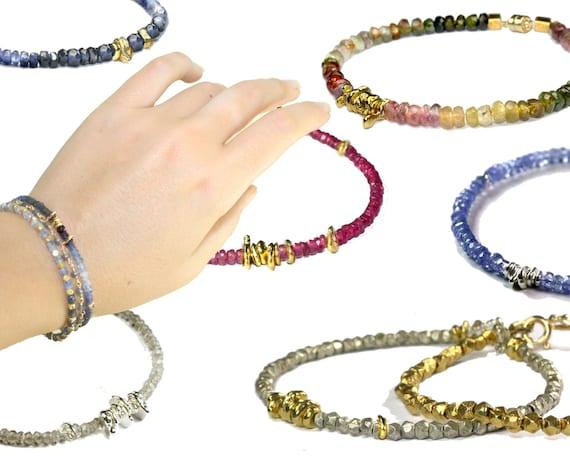 Beaded Stacking Bracelets. Gemstone Bracelets. Hill Tribe Silver & Vermeil Nuggets.