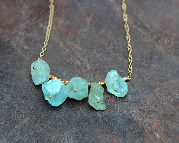 Raw Aquamarine Necklace. Five Rough Aquamarine, Amethyst, Tourmaline, Citrine, or Chrysoprase Nuggets. Gold Fill or Sterling Silver. NS-1925