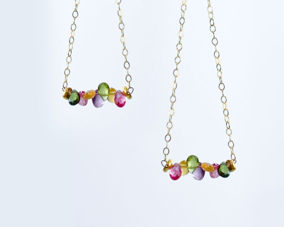 Watermelon Tourmaline and Gold Earrings. Long geometric triangle earrings with delicate Gold Filled chain. E-2301