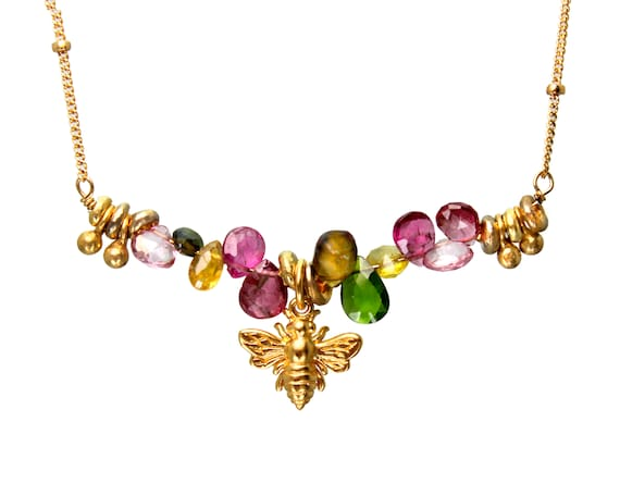 Honey Bee Necklace. Rainbow Briolette Necklace with Many Colorful Gemstones, Bar Necklace. N2825