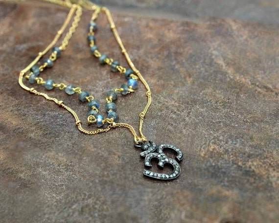Layered Pave Diamond Ohm Necklace with Pyrite Rosary on Gold Filled or Sterling Silver. Boho Luxe.