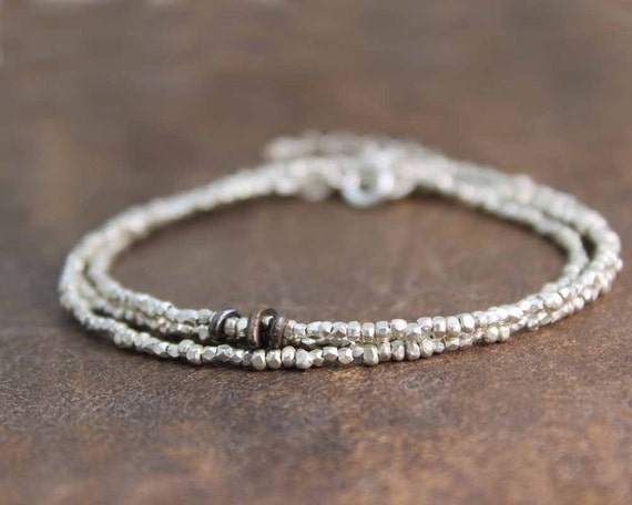 Pure Silver Beaded Necklace. Delicate Skinny Wrap Necklace or Bracelet. Tiny Hill Tribe Beads in Vermeil or Fine Silver. B-1916