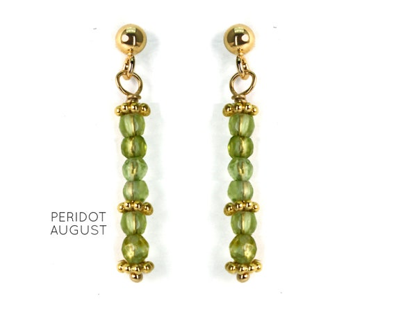 Peridot Earrings, Burgundy Post Earrings. August Birthstone. Healing Stones, Vertical Bar Studs. Gold Filled, Silver, Rose Gold. E2621