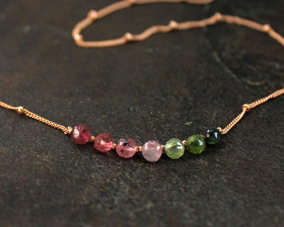 Tourmaline Necklace. October Birthstone. Watermelon Green & Pink. Gift for Mom. Healing Stones. In Gold Filled, Silver, Rose Gold. N2606
