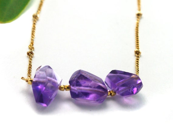 Amethyst Necklace, February Birthstone. Raw Stone Necklace. Healing Crystals. Tranquility Balance. In Gold Filled, Silver, Rose Gold. N2620