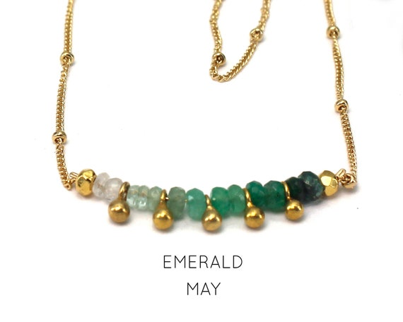 Emerald Choker. May Birthstone. Ombre Jewelry. Shaded Emerald. Gift for Sister. Adjustable Choker. In Gold Filled, Silver, Rose Gold. N2607