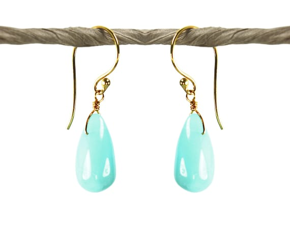 Indian Summer Collection. Aqua Opal Earrings. Peruvian Opal Teardrops. Handmade Artisan Jewelry. 24k Gold Vermeil.