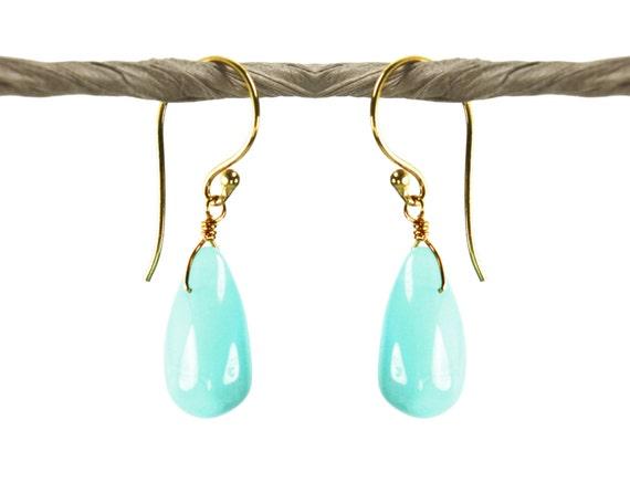 Indian Summer Collection. Aqua Opal Earrings. Peruvian Opal teardrops. Handmade Artisan Jewelry. 24k Gold Vermeil.
