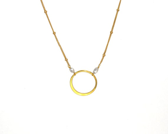 Eternity Necklace. Gold Fill & Gold Vemeil.  Freshwater Pearl Necklace. Circle of Life.