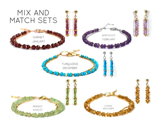 Birthstone Bracelet and Earring Set. Two items. Birthstone Jewelry Giftwrapped. Healing Stones. In Gold Filled, Silver, Rose Gold. B2602
