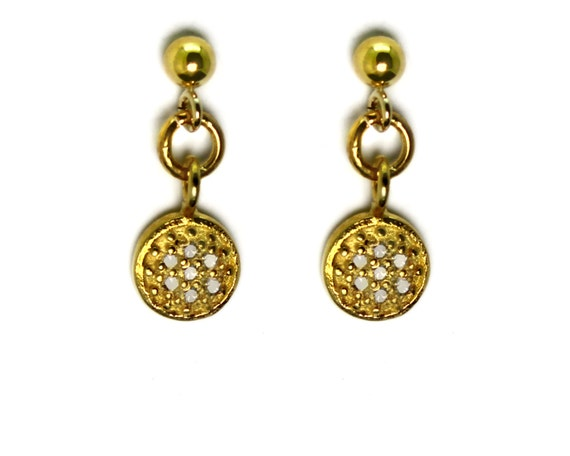 Modern Pave Diamond Disc Earrings. Set in 22k Gold Vermeil or Oxidized Sterling Silver. Mixed Metals.