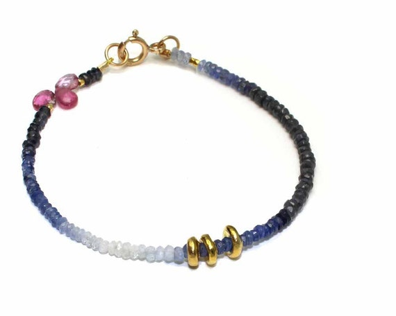 Ombre Sapphire Beaded Stacking Bracelet. Simple and Adorable with Pink Tourmaline Briolettes. Gold Filled or Sterling Silver.