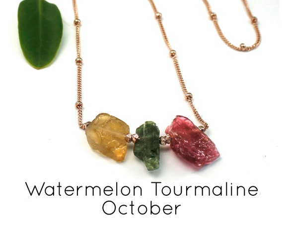 November Birthstone. Watermelon Tourmaline Necklace, Traffic lights. Raw Stones. Healing Crystals. Gold Filled, Silver, Rose Gold. N2620
