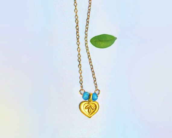 Lotus Necklace, Turquoise Necklace on a Gold Filled Chain. December Birthstone. In Gold or Silver, Yoga Necklace