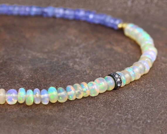 Ethiopian Welo Opal and Tanzanite Stacking Bracelet with Pave Diamond Details. Gold Filled or Sterling Silver.