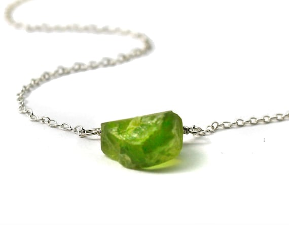 August Birthstone. Peridot Necklace. Raw Gemstone Necklace. Healing Crystals. Gold Filled, Silver, Rose Gold. N1924