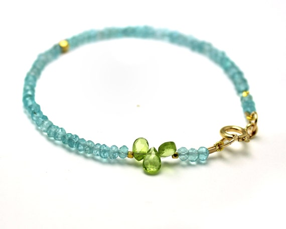 Apatite Beaded Bracelet. Simple Stacking Bracelet with Peridot Briolettes. Gold Fill or Sterling Silver. B-1912