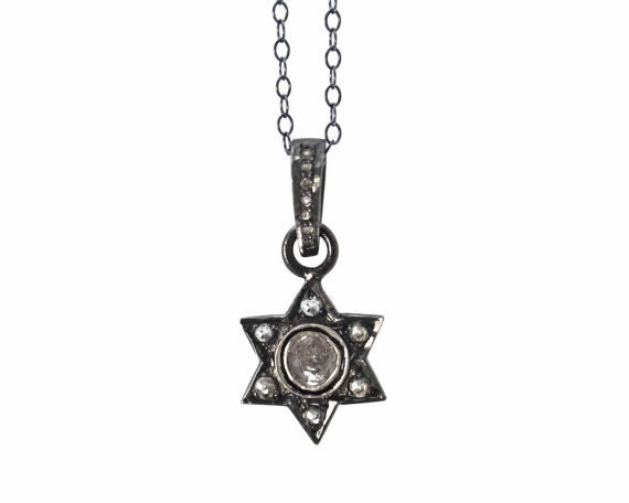 Pave Diamond Star of David in Sterling Silver. Great Bat Mitzvah Gift.  NM-1957-1
