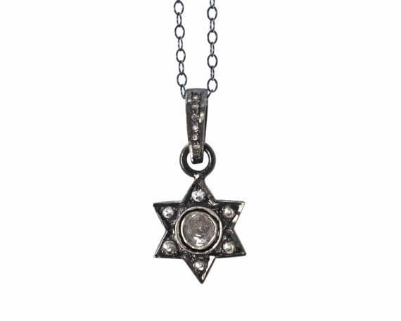Pave Diamond Star of David in sterling silver. Great Hanukkah Gift, Bat Mitzvah Gift.  NM-1957-1