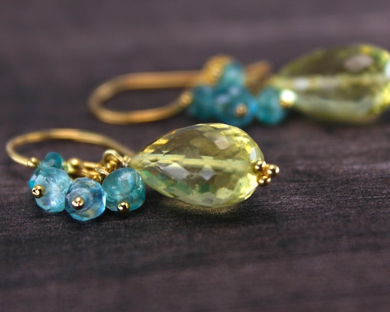Citrus Summer Briolette Cluster Earrings. Yellow and Blue Green. Lemon Citrine and Apatite Earrings. In Gold or Silver.