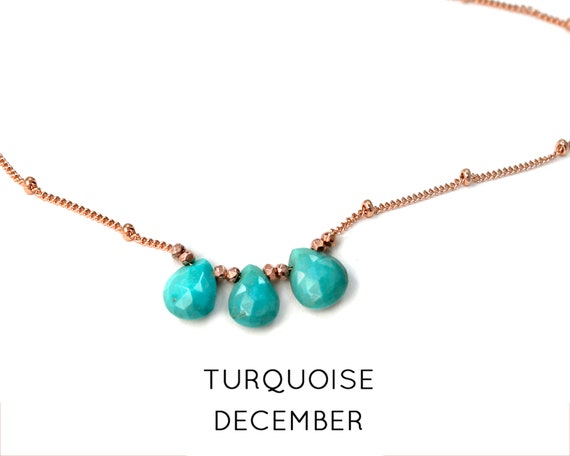 Turquoise Necklace. December Birthstone. Multi Stone Necklace. Gift for Sister. Healing Stones. In Gold Filled, Silver, Rose Gold. N2606