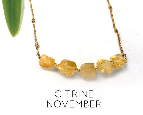 Citrine Necklace, November Birthstone. Raw Stone Necklace. Healing Crystals. Imagination Prosperity. Gold Filled, Silver, Rose Gold. N2620