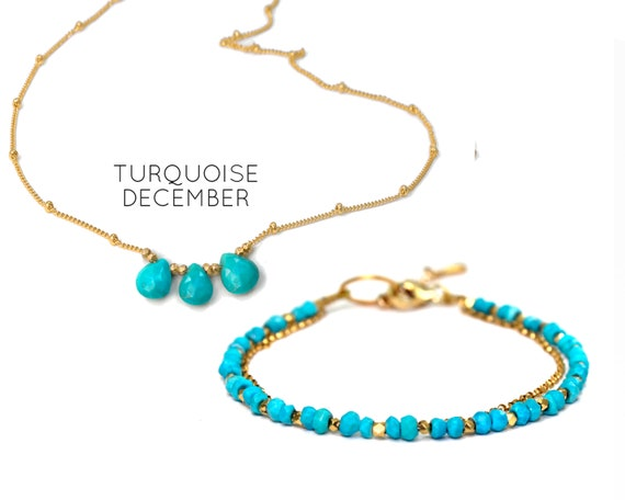 Turquoise Necklace and Bracelet Set. Two items. December Birthstone. Giftwrapped. Healing Stones. In Gold Filled, Silver, Rose Gold. N2606
