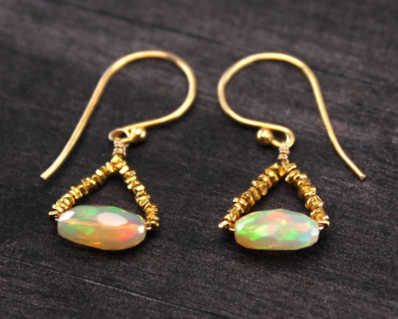 Fire Opal Earrings, Uniquely Designed  Earrings, Like a Handbag or Purse. October Birthstone. In Gold Filled, Silver, or Rose Gold.