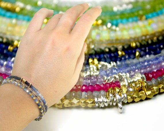 s. Beaded Stacking Bracelets. Gemstone Bracelets. Hill Tribe Silver & Vermeil Nuggets. WH