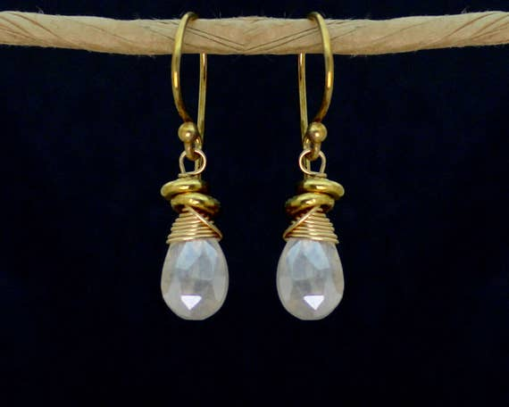 Wire Wrapped Silverite Earrings with Tiny Nuggets. Also in Labradorite or Smoky Topaz, Gold or Silver E-1964-1