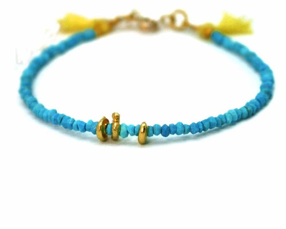 Turquoise Tassel Bracelet. Lemon Yellow Tassel Bracelet. Stacking Bracelet. Gold Fill or Sterling Silver. B-1757