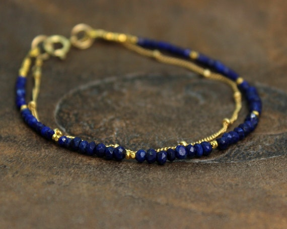 Delicate Two Strand Lapis Lazuli Bracelet. Also in Earthy Garnet or Labradorite, Gold or Silver.