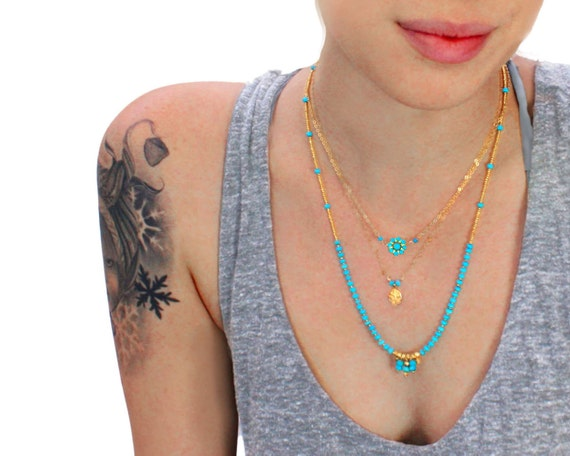 Beaded turquoise Necklace. Multi strand Necklace. Gold necklace, turquoise necklace. Gold filled or Sterling silver.