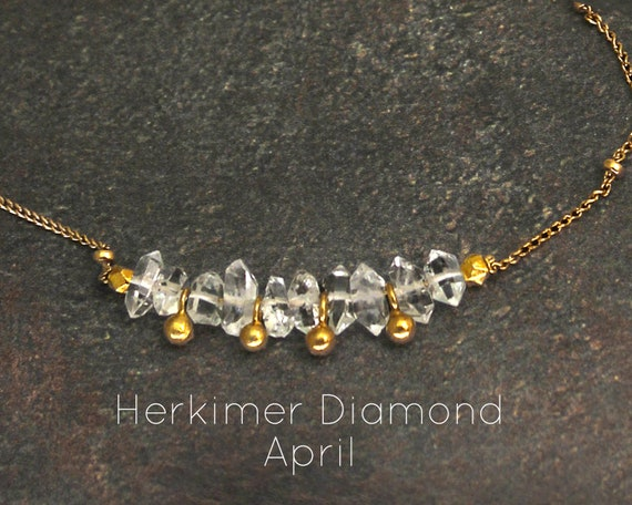 Herkimer Diamond Choker. April Birthstone. Dainty, Gift for Sister. Adjustable Choker. In Gold Filled, Silver, Rose Gold. N2607