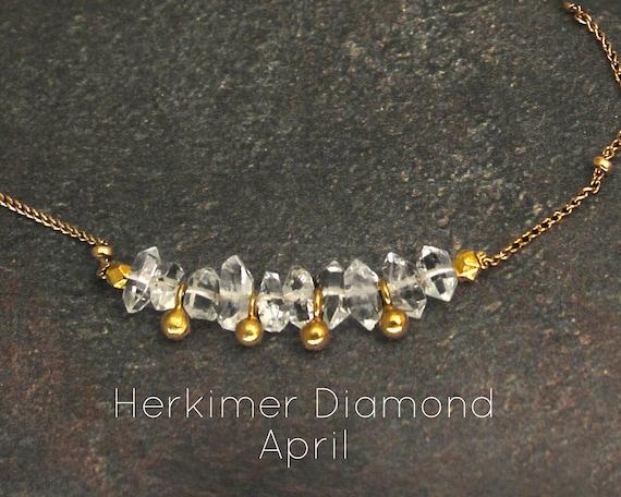 Herkimer Diamond Choker. April Birthstone. Dainty, Gift for Sister. Adjustable Choker. In Gold Filled, Silver, Rose Gold. N2607