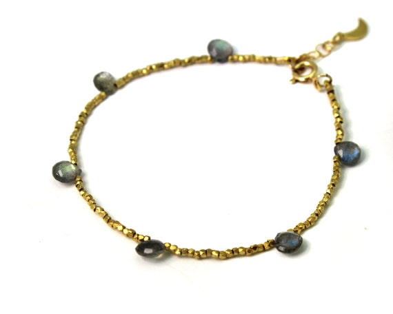 Gold Beaded Labradorite Bracelet. Simple Briolette Stacking Bracelet. Also in Silver.
