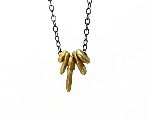 Tiny Nugget Necklace. Mixed Metal Necklace. Gold Filled or Sterling Silver and Black. Basic Layering Necklace. NS-1946