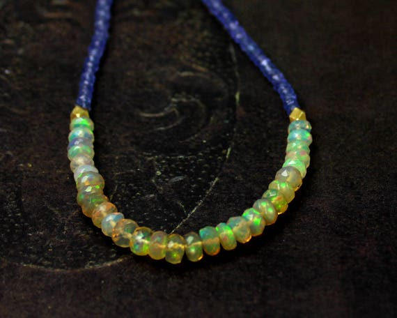 Ethiopian Opal and Tanzanite Beaded Necklace. In Gold or Silver.