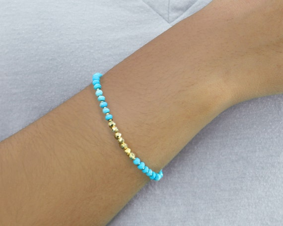 December Birthstone, Beaded Friendship Bracelet.  Charm Bracelet.  Turquoise Bracelet in Silver or Gold. Layering Bracelet