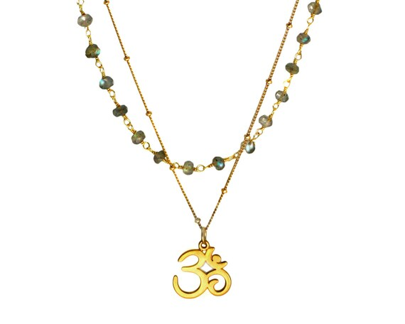 Ohm Necklace. Multi Strand Necklace. Buddhist Jewelry. Yoga Necklace. Spirit Pendant.