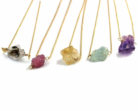 Birthstone Necklace, Rough Gemstone Necklace.  Raw Gemstone. Crystal Jewelry.  Gift for Mom NS-1924