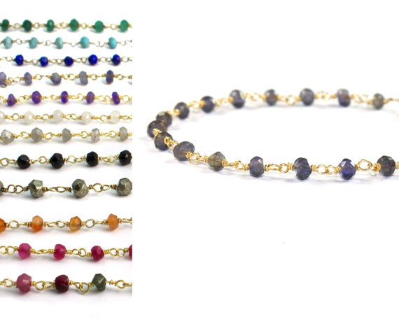 Rosary Stacking Bracelet. Iolite, Water Sapphire and more. 925 Silver or 22k Gold Vermeil. B-1790