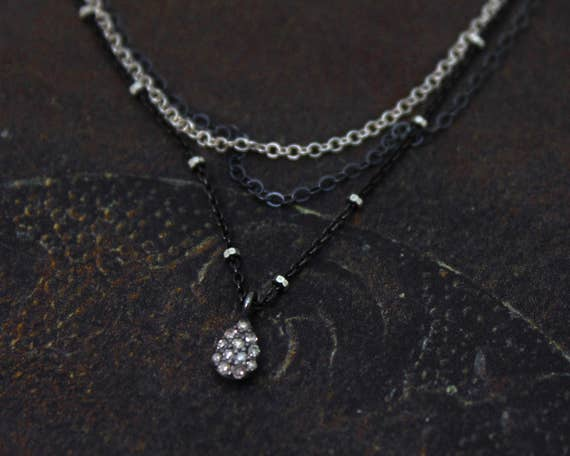 Tear Drop Choker. Pave Diamond Pear Necklace. Multi Chain Choker. Tiny Tear Drop Necklace. Black Diamond Necklace. NCC-2350